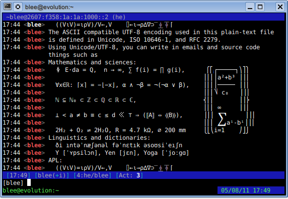 An excerpt from Markus Kuhn's Unicode/UTF-8 demo in Irssi running in GNU Screen over OpenSSH in Konsole.
